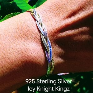 "7"" Solid 925 Tri-Color Herringbone Bracelet"